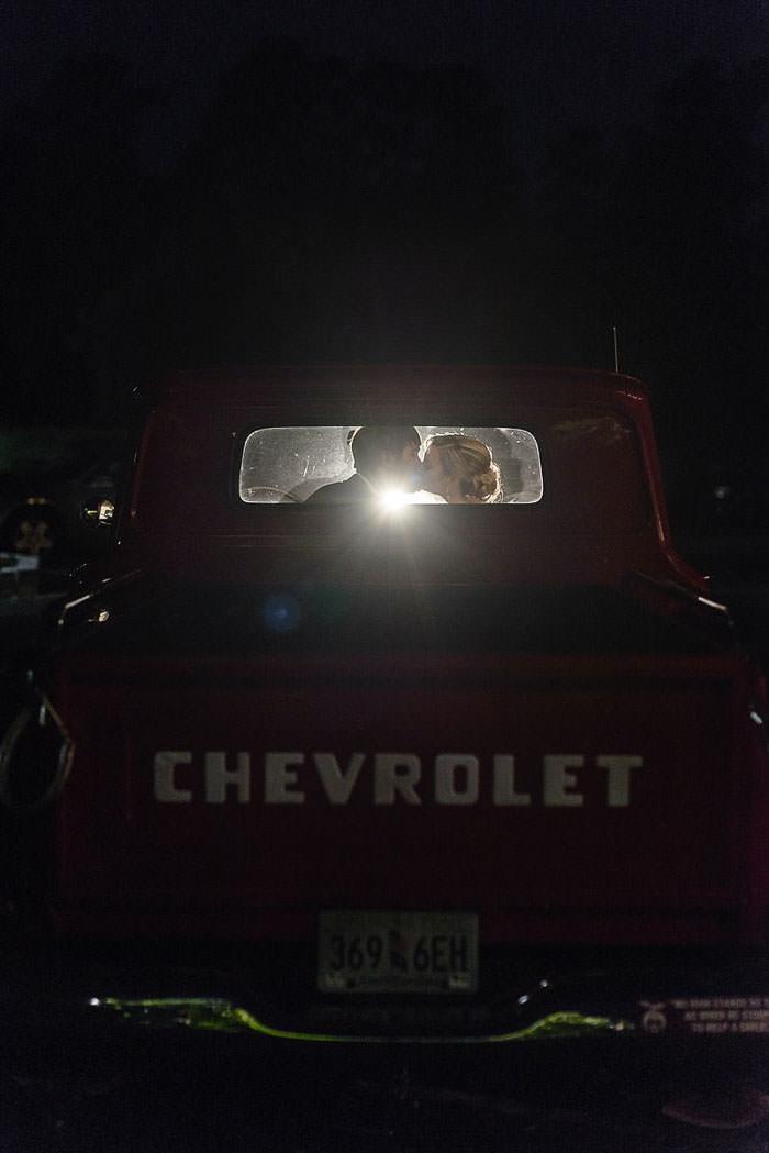 classic chevrolet wedding getaway
