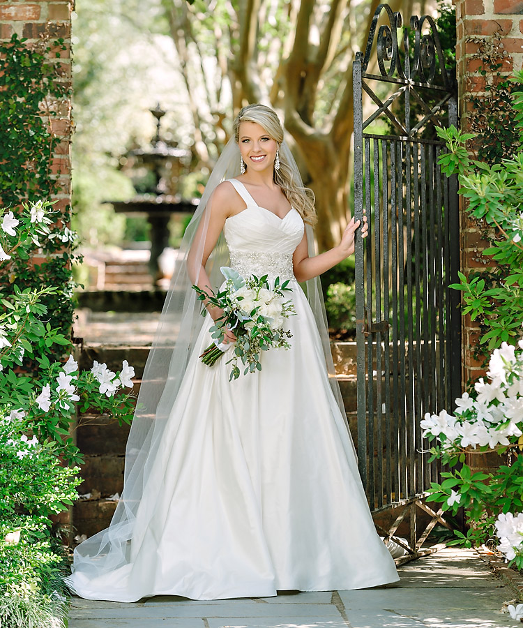 Bridal Portrait at the Lace House in Columbia SC in front of fountain